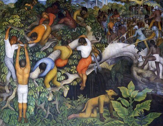 Crossing the Barranca, 1930 by Diego Rivera