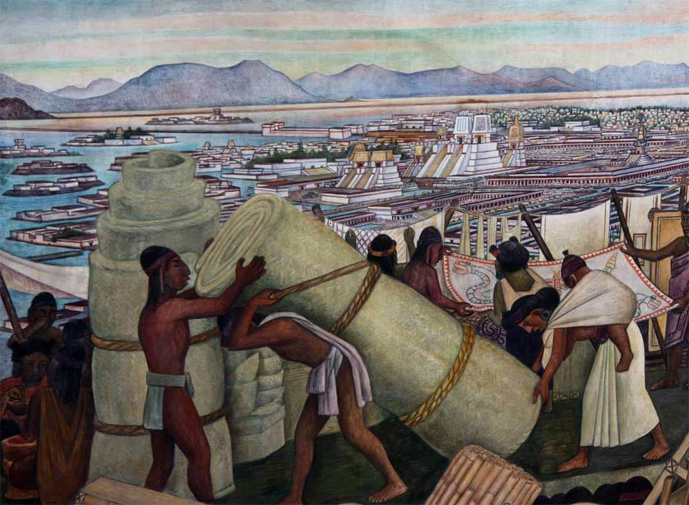 Tenochtitlan 1945 by diego rivera for Diego rivera tenochtitlan mural